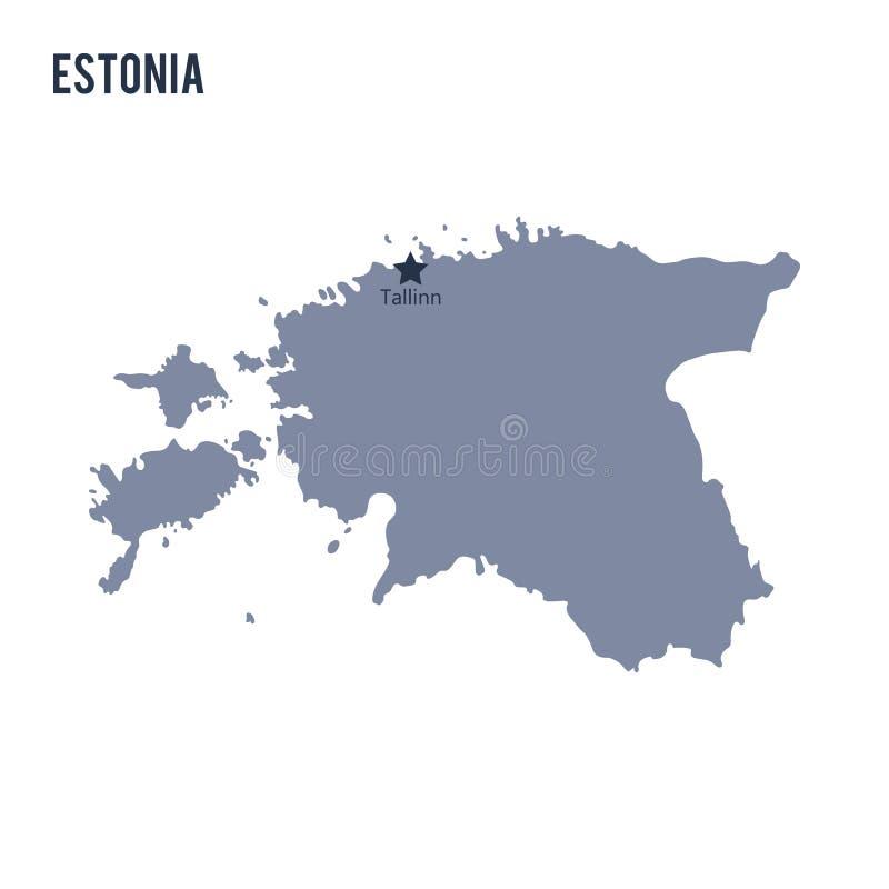 Mapa del vector de Estonia en el fondo blanco stock de ilustración