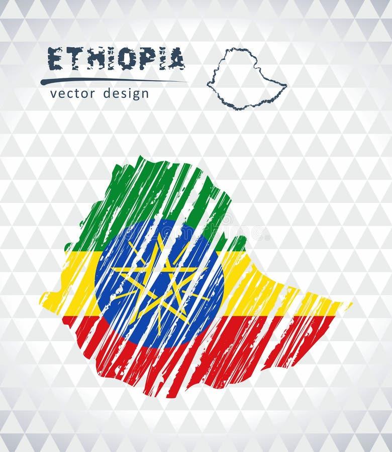 Mapa del vector de Etiopía con el interior de la bandera aislado en un fondo blanco Ejemplo dibujado mano de la tiza del bosquejo stock de ilustración