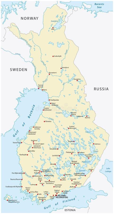 Mapa del vector de Finlandia stock de ilustración