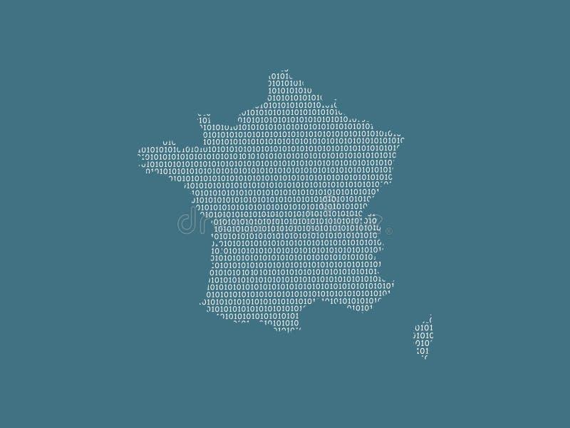 Mapa del vector de Francia usando los dígitos binarios blancos en el fondo oscuro para significar el país digital y el adelanto d stock de ilustración