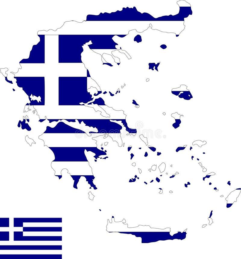 Mapa del vector de Grecia con la bandera fondo aislado, blanco libre illustration