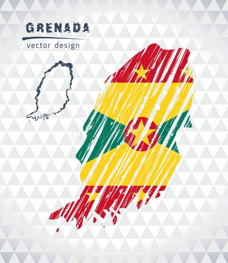 Mapa del vector de Grenada con el interior de la bandera aislado en un fondo blanco Ejemplo dibujado mano de la tiza del bosquejo ilustración del vector