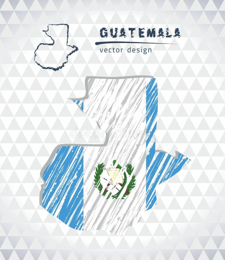 Mapa del vector de Guatemala con el interior de la bandera aislado en un fondo blanco Ejemplo dibujado mano de la tiza del bosque stock de ilustración