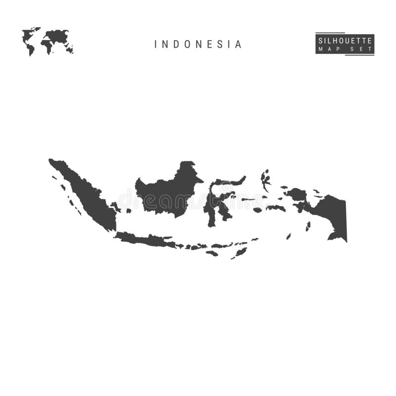 Mapa del vector de Indonesia aislado en el fondo blanco Mapa negro Alto-detallado de la silueta de Indonesia stock de ilustración