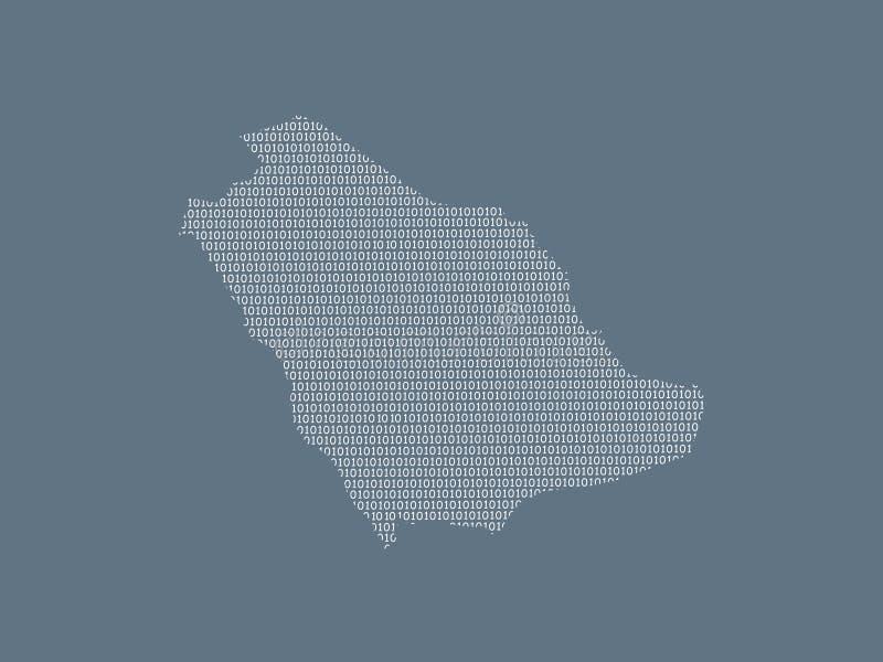 Mapa del vector de la Arabia Saudita usando los dígitos binarios blancos en el fondo oscuro para significar el país digital y el  stock de ilustración