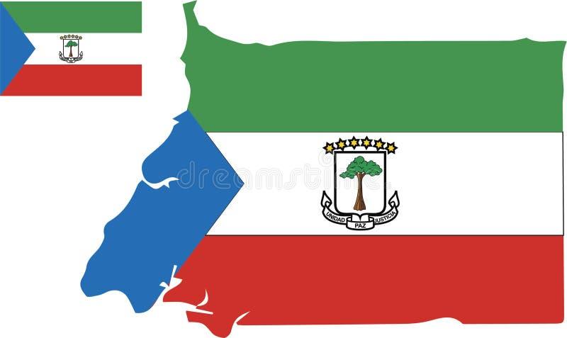Mapa del vector de la Guinea Ecuatorial con la bandera fondo aislado, blanco libre illustration