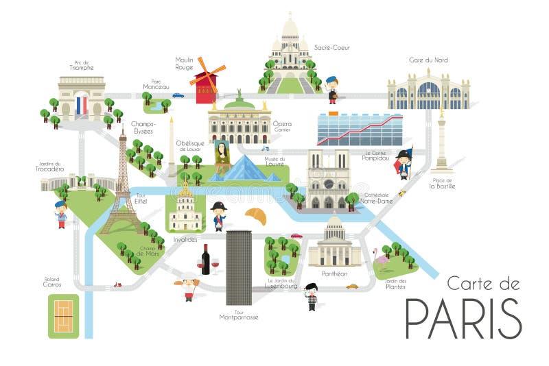 Mapa del vector de la historieta de la ciudad de París, Francia Ejemplo del viaje con las señales y las atracciones principales stock de ilustración