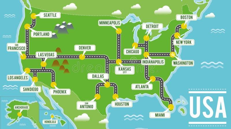 Mapa del vector de la historieta de los E.E.U.U. Ejemplo del viaje con las ciudades principales americanas ilustración del vector