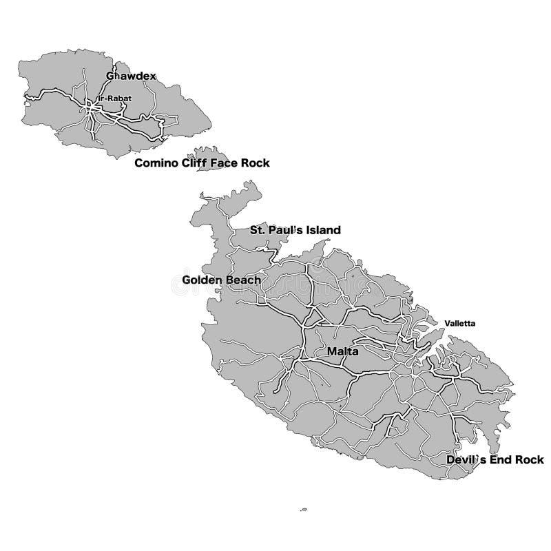 Mapa Del Vector De La Isla De Malta Ilustracion Del Vector