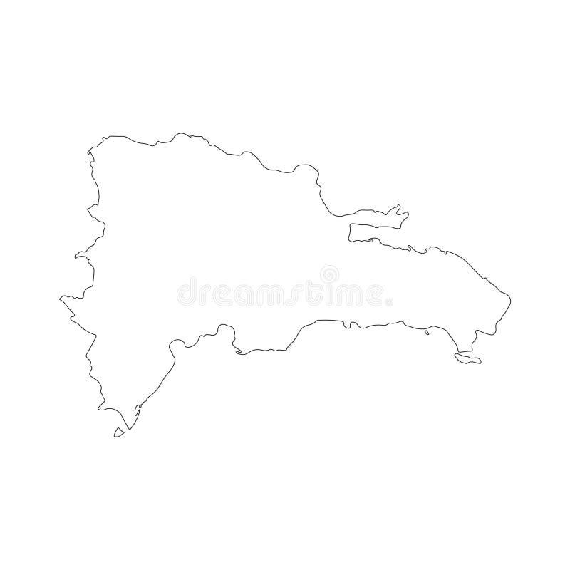 Mapa del vector de la República Dominicana aislado en el fondo blanco Alto ejemplo detallado Resumido, contorno stock de ilustración