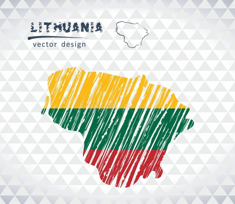 Mapa del vector de Lituania con el interior de la bandera aislado en un fondo blanco Ejemplo dibujado mano de la tiza del bosquej libre illustration