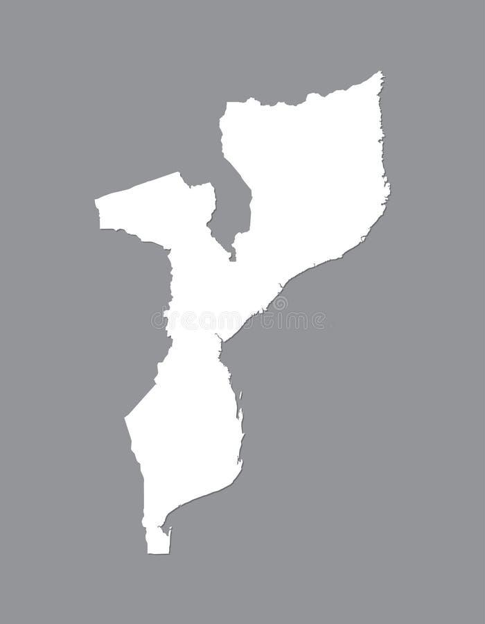 Mapa del vector de Mozambique con área de tierra integrada usando el color blanco en el ejemplo oscuro del fondo