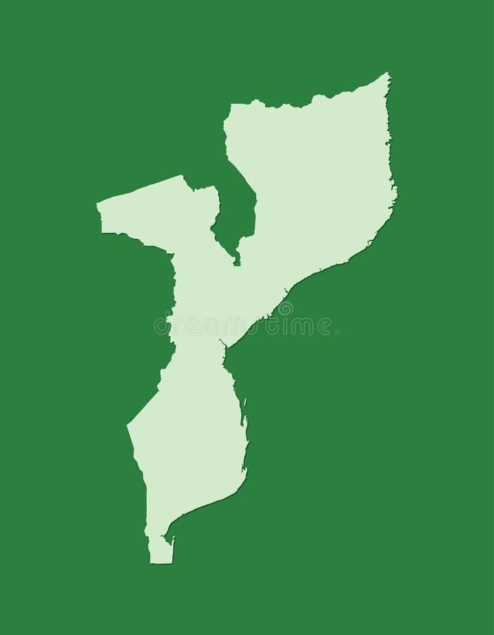 Mapa del vector de Mozambique con sola área de tierra usando color verde en el ejemplo oscuro del fondo