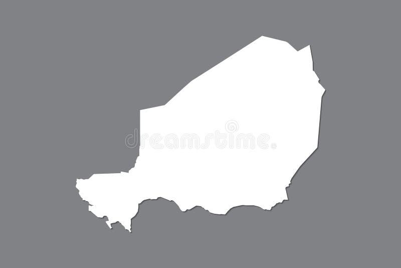 Mapa del vector de Niger con área de tierra integrada usando el color blanco en el ejemplo oscuro del fondo