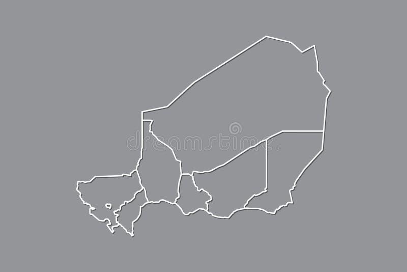 Mapa del vector de Niger con las fronteras de divisiones usando color gris en el ejemplo oscuro del fondo