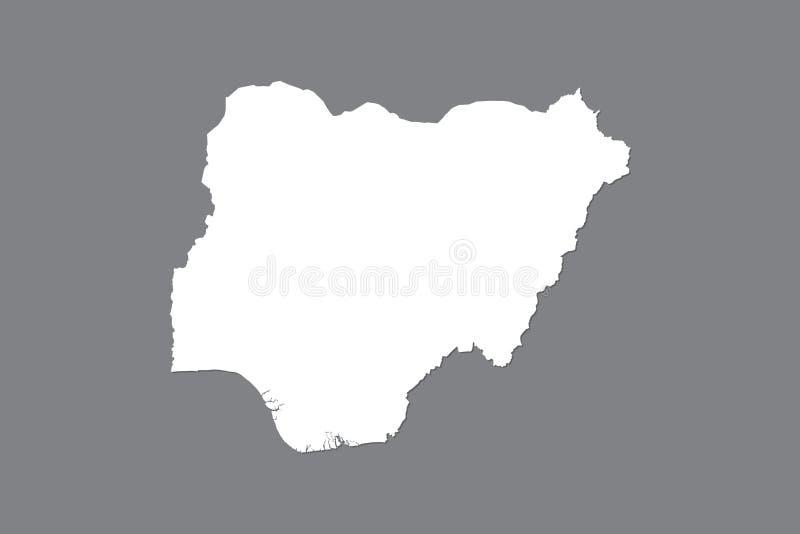 Mapa del vector de Nigeria con área de tierra integrada usando el color blanco en el ejemplo oscuro del fondo