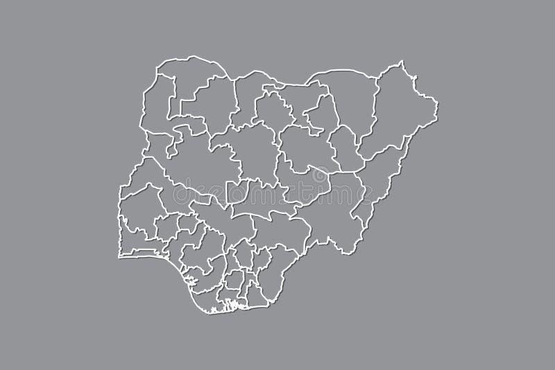 Mapa del vector de Nigeria con las fronteras de estados usando color gris en el ejemplo oscuro del fondo