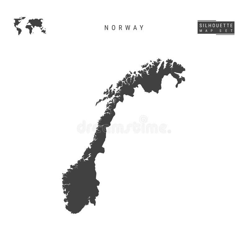 Mapa del vector de Noruega aislado en el fondo blanco Mapa negro Alto-detallado de la silueta de Noruega stock de ilustración