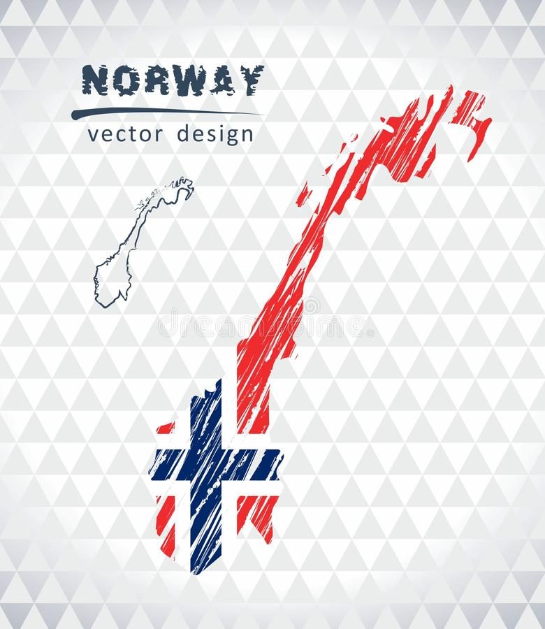 Mapa del vector de Noruega con el interior de la bandera aislado en un fondo blanco Ejemplo dibujado mano de la tiza del bosquejo ilustración del vector
