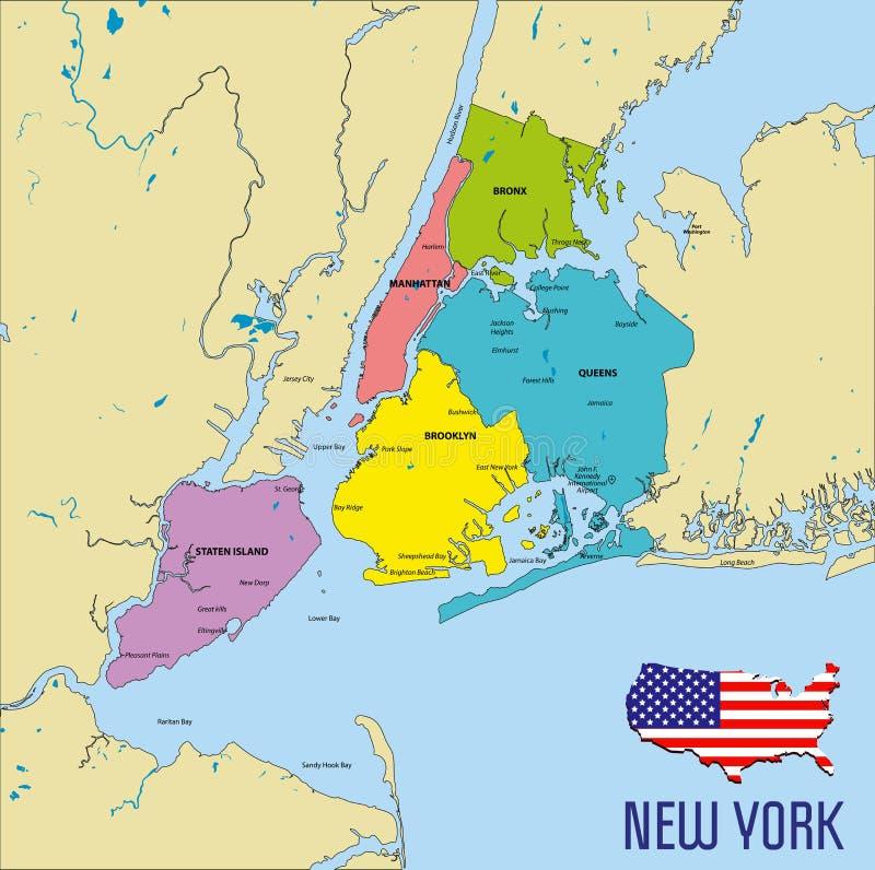 Mapa del vector de Nueva York ilustración del vector