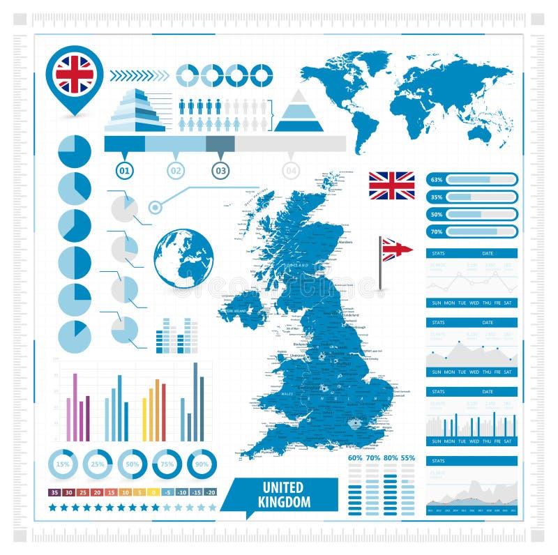 Mapa del vector de Reino Unido y elementos infographic ilustración del vector
