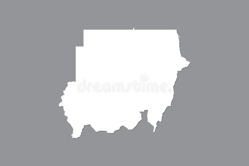 Mapa del vector de Sudán con área de tierra integrada usando el color blanco en el ejemplo oscuro del fondo