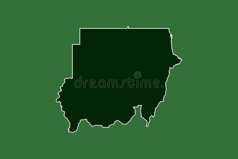 Mapa del vector de Sudán con la sola frontera límite usando área del color verde en el ejemplo oscuro del fondo