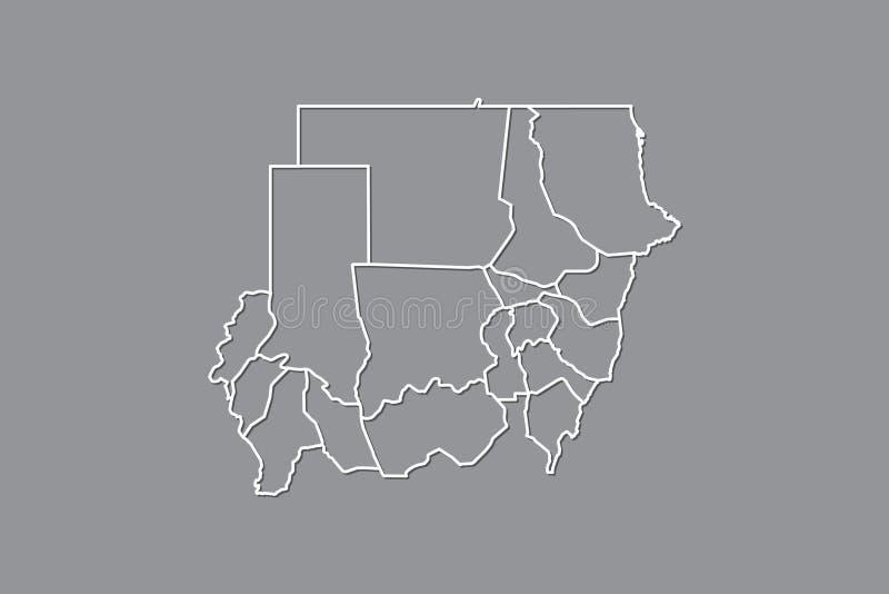 Mapa del vector de Sudán con las fronteras de estados usando color gris en el ejemplo oscuro del fondo