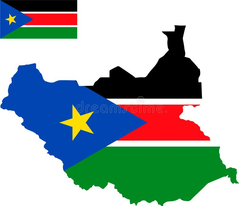 Mapa del vector de Sudán del sur con la bandera fondo aislado, blanco libre illustration