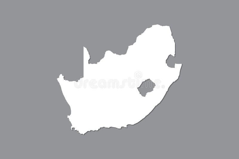 Mapa del vector de Suráfrica con área de tierra integrada usando el color blanco en el ejemplo oscuro del fondo