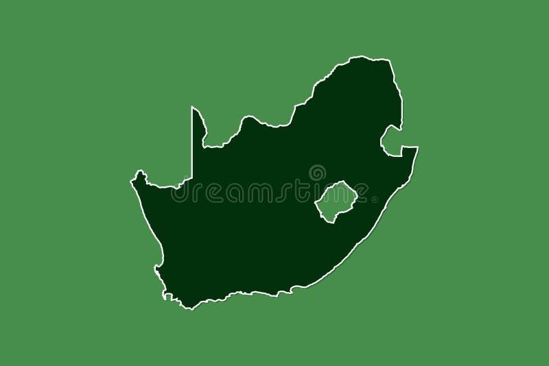 Mapa del vector de Suráfrica con la sola frontera límite usando área del color verde en el ejemplo oscuro del fondo