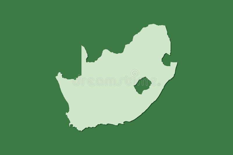 Mapa del vector de Suráfrica con sola área de tierra usando color verde en el ejemplo oscuro del fondo