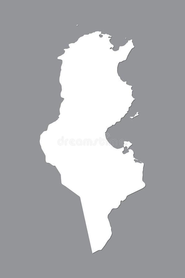 Mapa del vector de Túnez con área de tierra integrada usando el color blanco en el ejemplo oscuro del fondo