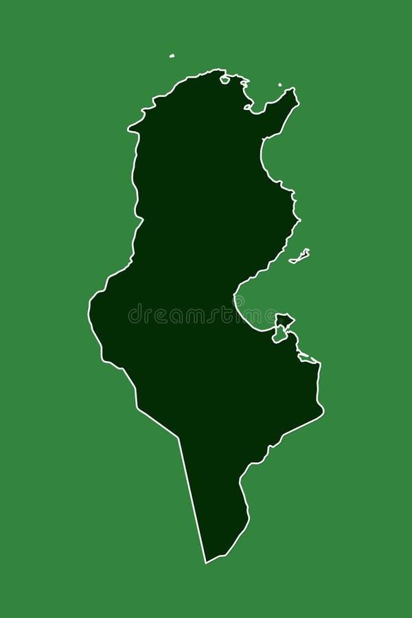 Mapa del vector de Túnez con la sola frontera límite usando área del color verde en el ejemplo oscuro del fondo