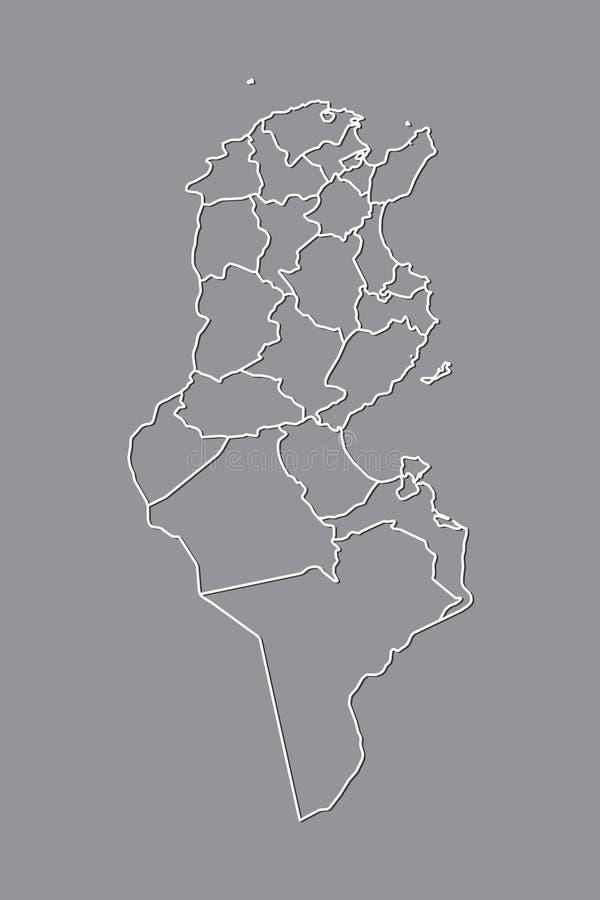 Mapa del vector de Túnez con las fronteras de divisiones usando color gris en el ejemplo oscuro del fondo