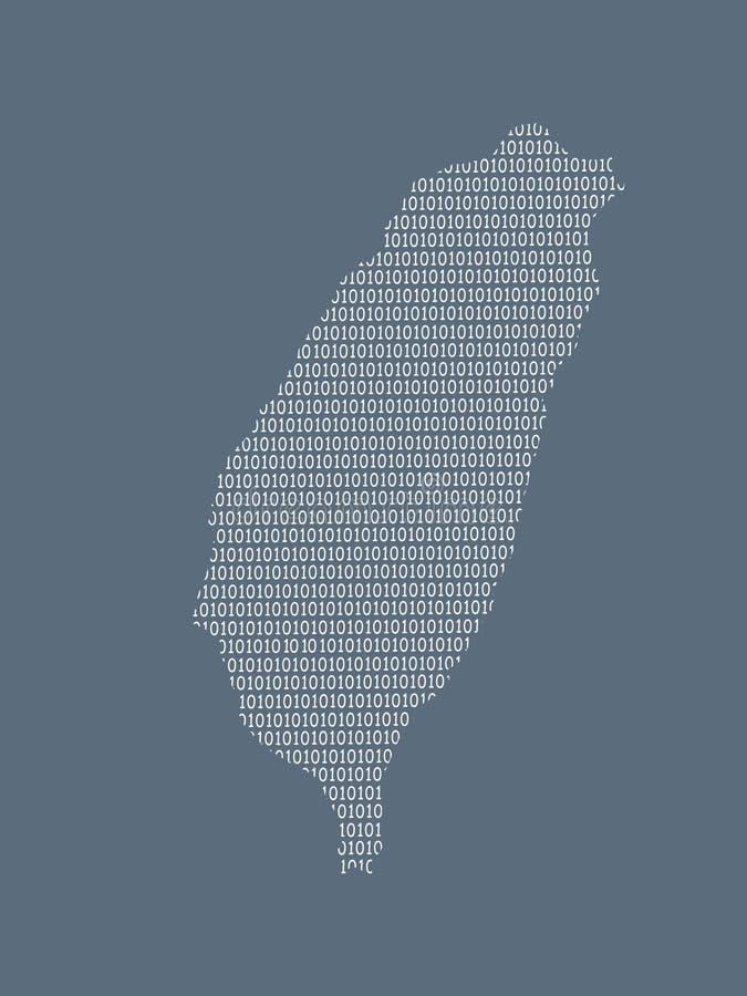 Mapa del vector de Taiwán usando los dígitos binarios blancos en el fondo oscuro para significar el país digital y el adelanto de libre illustration