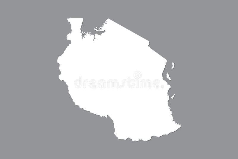 Mapa del vector de Tanzania con área de tierra integrada usando el color blanco en el ejemplo oscuro del fondo