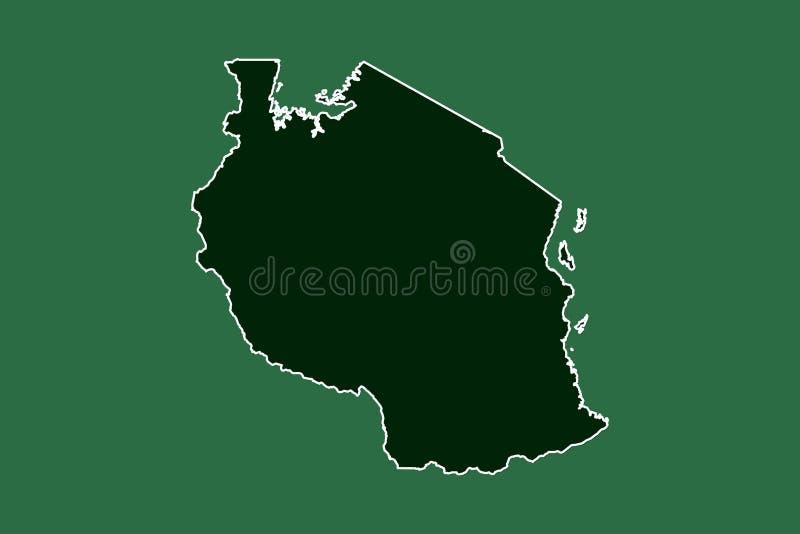 Mapa del vector de Tanzania con la sola frontera límite usando área del color verde en el ejemplo oscuro del fondo