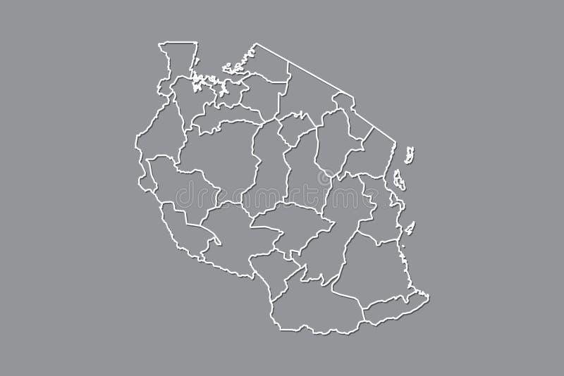 Mapa del vector de Tanzania con las fronteras de regiones usando color gris en el ejemplo oscuro del fondo