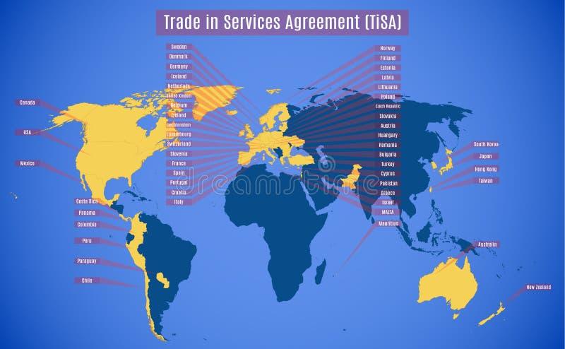 Mapa del vector de TiSA Trade en el acuerdo de servicios libre illustration