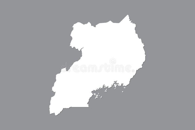 Mapa del vector de Uganda con área de tierra integrada usando el color blanco en el ejemplo oscuro del fondo