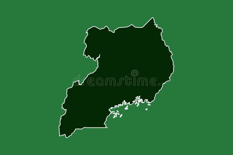 Mapa del vector de Uganda con la sola frontera límite usando área del color verde en el ejemplo oscuro del fondo