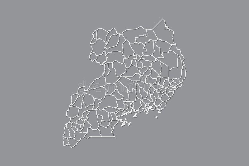 Mapa del vector de Uganda con las fronteras de distritos usando color gris en el ejemplo oscuro del fondo