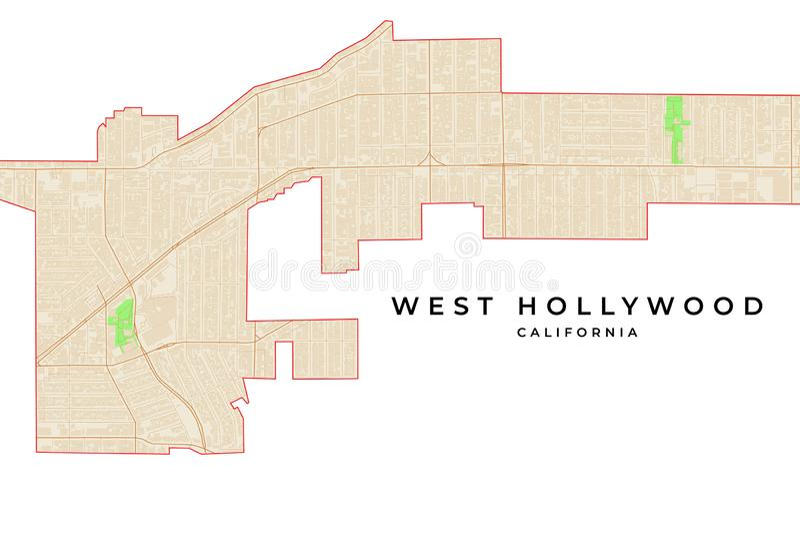 Mapa del vector de West Hollywood, California, los E.E.U.U. ilustración del vector
