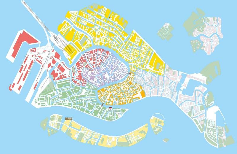 Mapa del vector del color de Venecia stock de ilustración