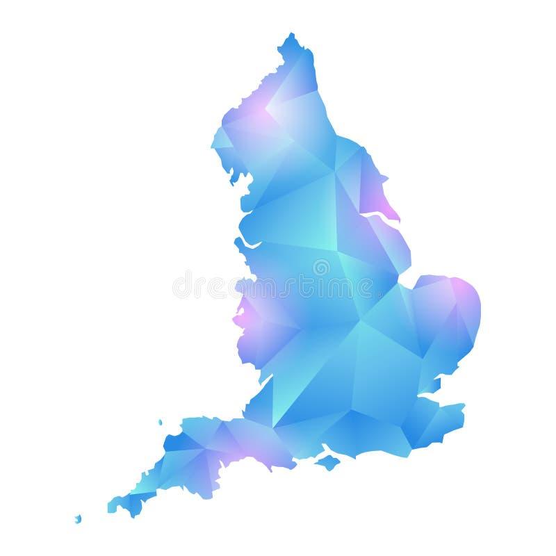 Mapa del vector del polígono de Inglaterra stock de ilustración