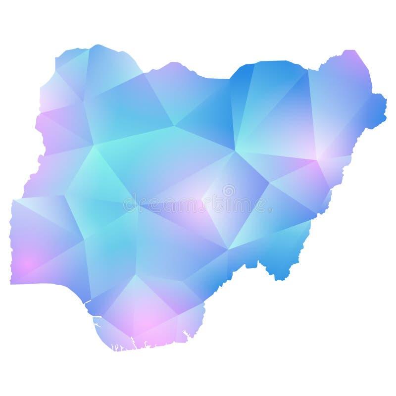 Mapa del vector del polígono de Nigeria stock de ilustración