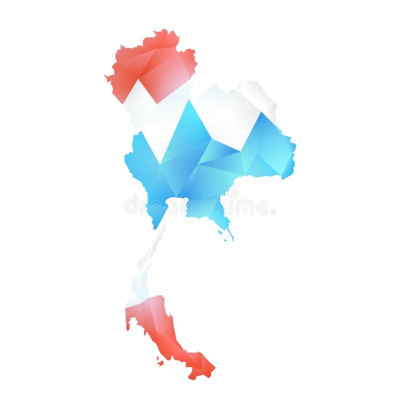 Mapa del vector del polígono de Tailandia stock de ilustración