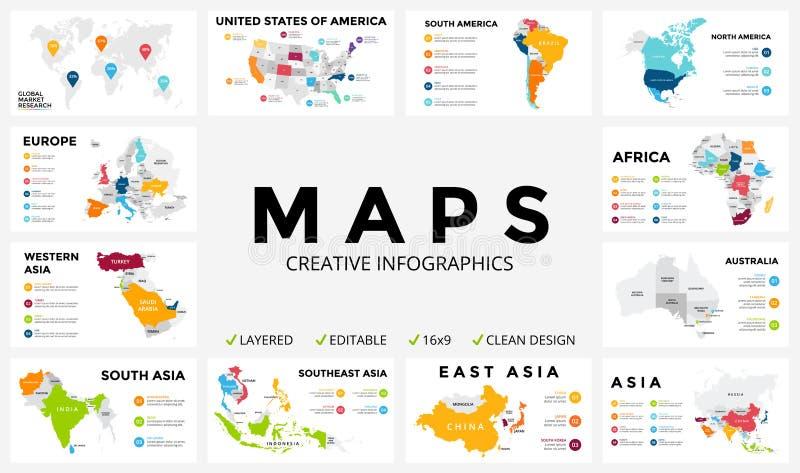Mapa del vector infographic Presentación de diapositivas Concepto del márketing de negocio global País del color transporte del m libre illustration