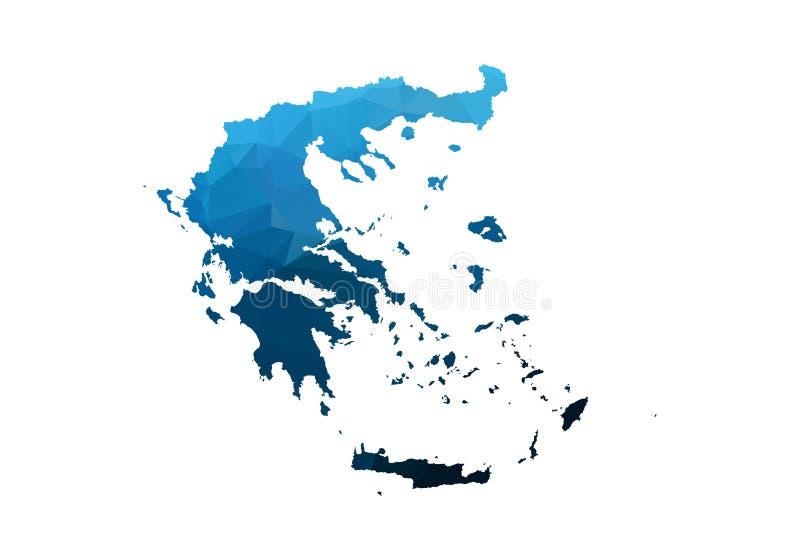 Mapa del vector - triangular desgreñada geométrico azul Mapa polivin?lico bajo de Afganist?n mapa del contorno/de la forma aislad ilustración del vector